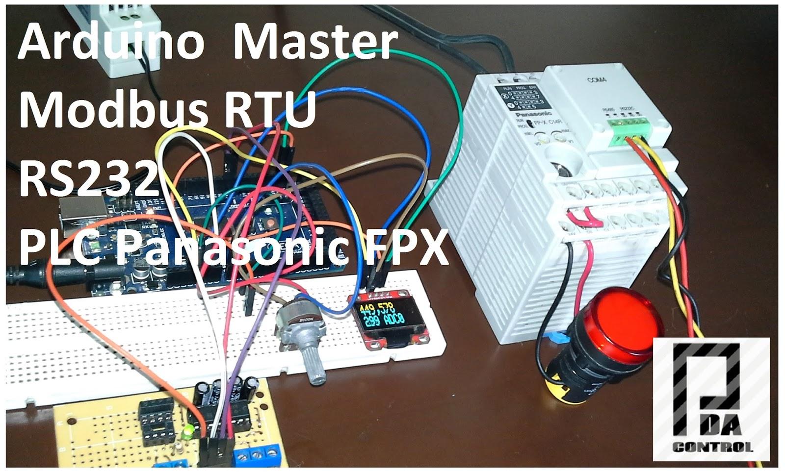 Pruebas Modbus RTU Maestro con Arduino via RS232 y PLC Panasonic FPX C14R