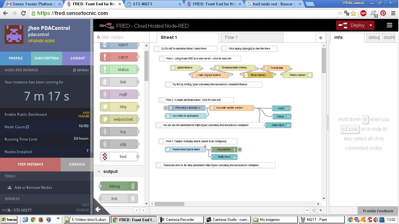 FRED front-end Node-RED in the cloud - PDAControl