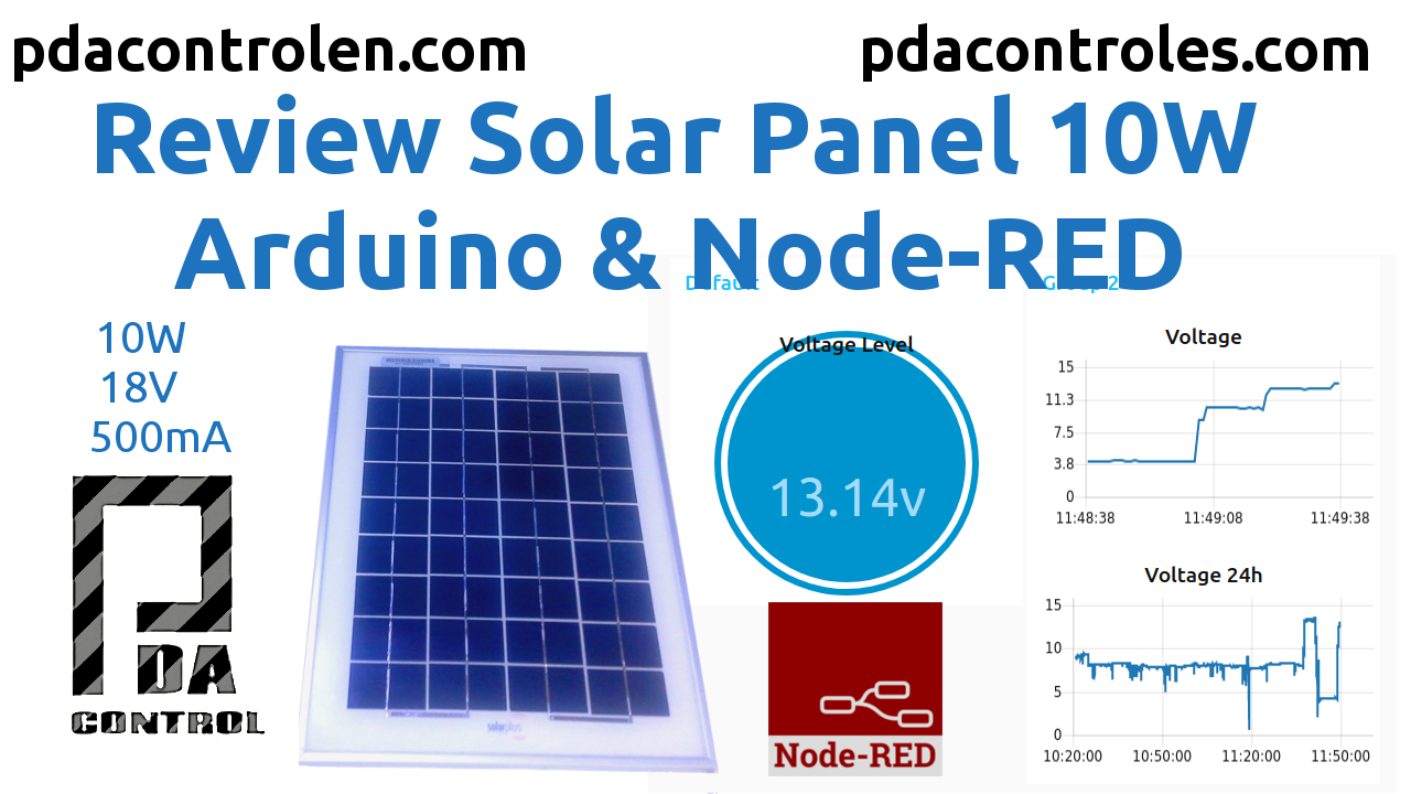 Revision Panel Solar 10W con Arduino y  Node-RED
