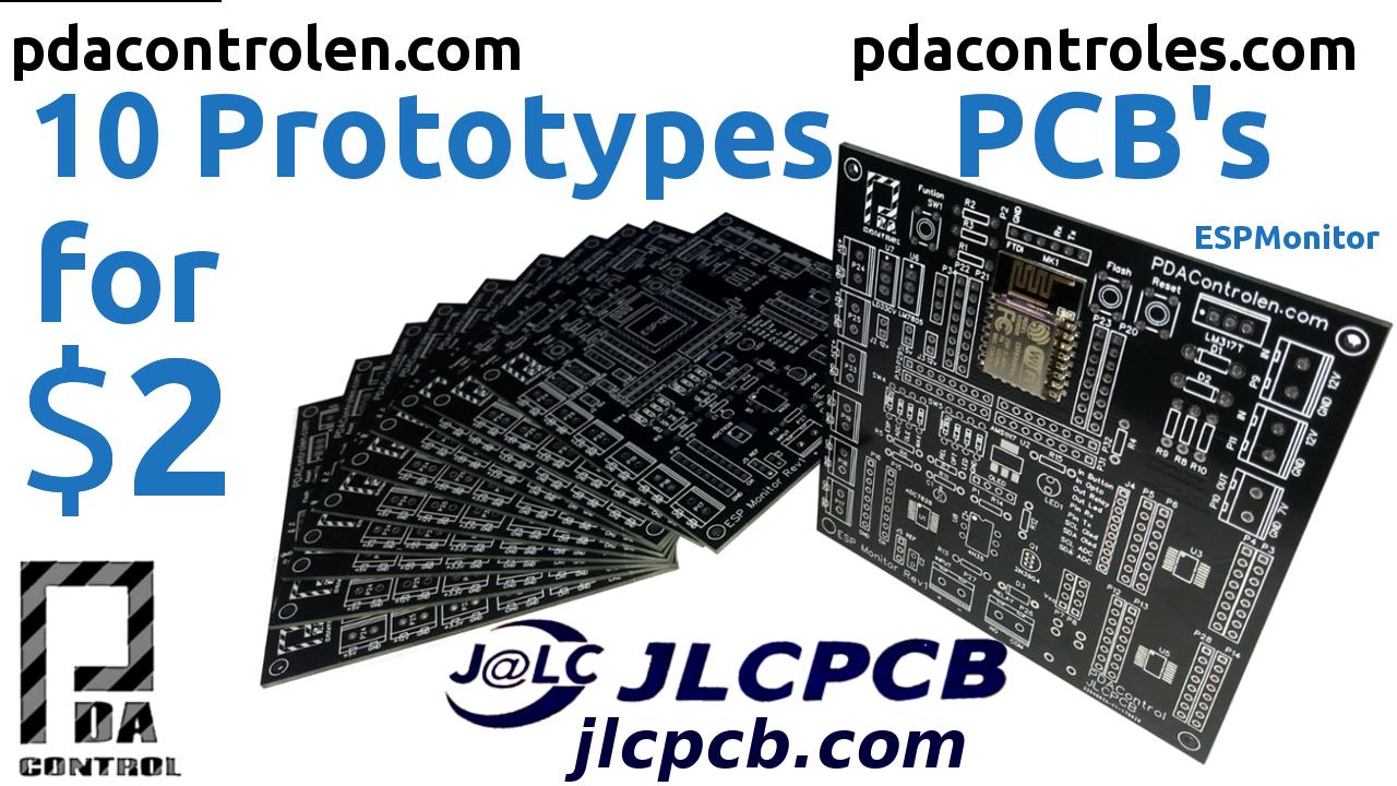 10 PCB Profesionales por $ 2 con JLCPCB – Prototipos ESPMonitor