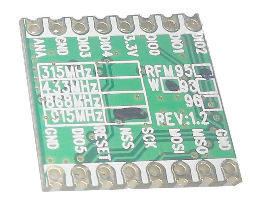 RF96 / RFM95 de Hoperf Vista trasera 915.0Mhz