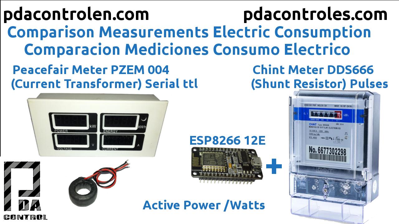 Comparación Mediciones Potencia Peacefair PZEM 004 VS Chint DDS666 & ESP8266