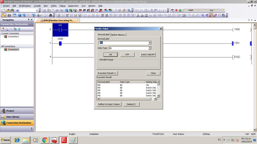 First Test Programming PLC Lollette FX3U 14MR / LE3U / FX3U / FX3UC