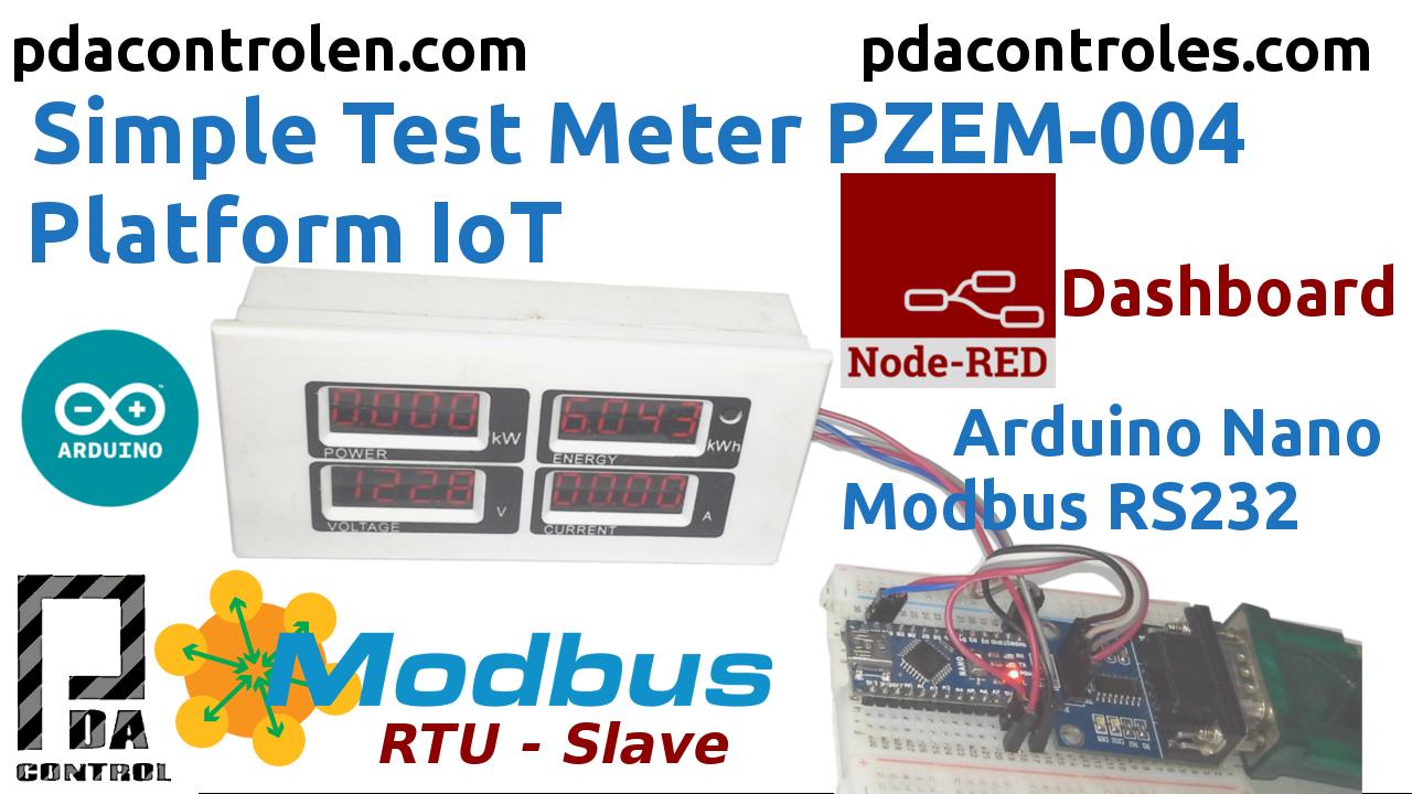 Medidor PZEM-004 + Arduino Nano Modbus RTU (RS232) & Plataforma IoT Node-RED