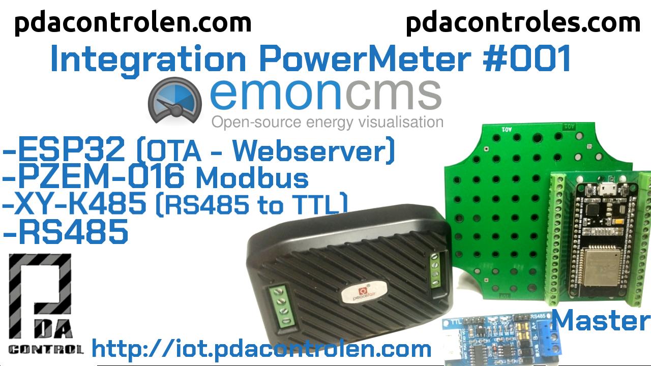 ESP32 + Medidor Modbus  PZEM-016 RS485 y Plataforma Emoncms #001